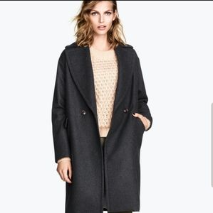 H&M Wool Blend Black One Button with Pockets Coat